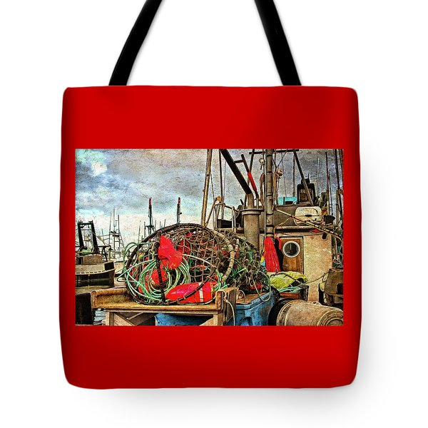 Tote Bag featuring the photograph Crab Rings On Deck by Thom Zehrfeld