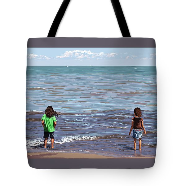 Tote Bag featuring the painting Getting Their Feet Wet by Shawna Rowe
