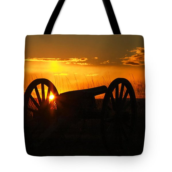 Gettysburg Cannon Sunset Tote Bag by Randy Steele
