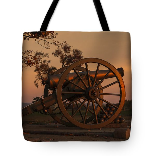 Gettysburg - Cannon With Cannon Balls At Sunrise Tote Bag