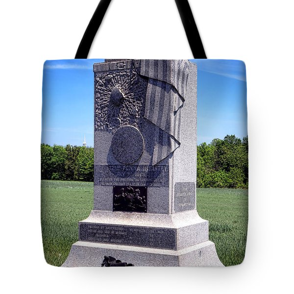 Gettysburg National Park 121st Pennsylvania Infantry Memorial  Tote Bag