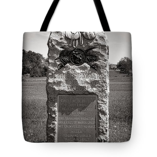 Gettysburg National Park 12th Illinois Cavalry Monument Tote Bag