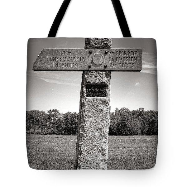 Gettysburg National Park 142nd Pennsylvania Infantry Monument Tote Bag