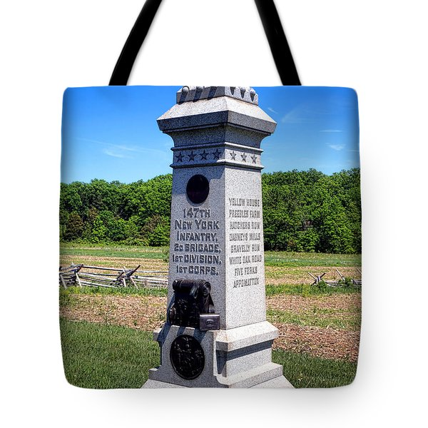 Gettysburg National Park 147th New York Infantry Memorial Tote Bag