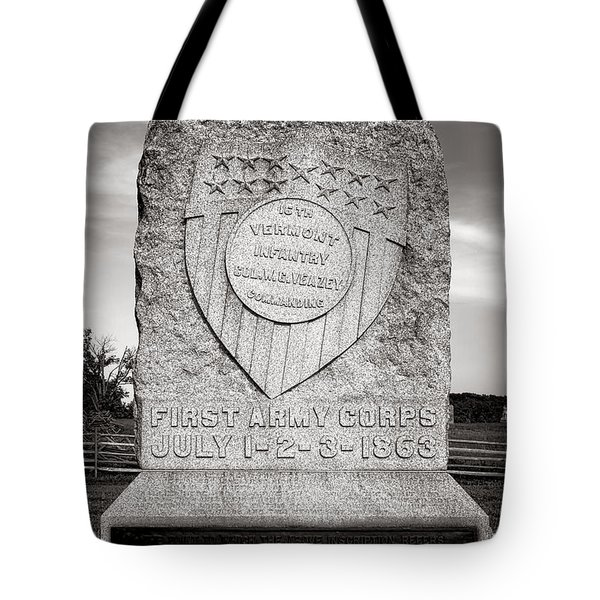 Gettysburg National Park 16th Vermont Infantry Monument Tote Bag