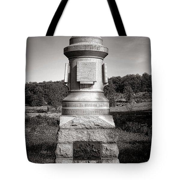 Gettysburg National Park 30th Pennsylvania Infantry Monument Tote Bag