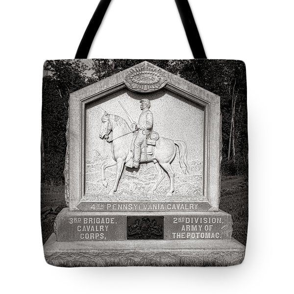 Gettysburg National Park 4th Pennsylvania Cavalry Monument Tote Bag