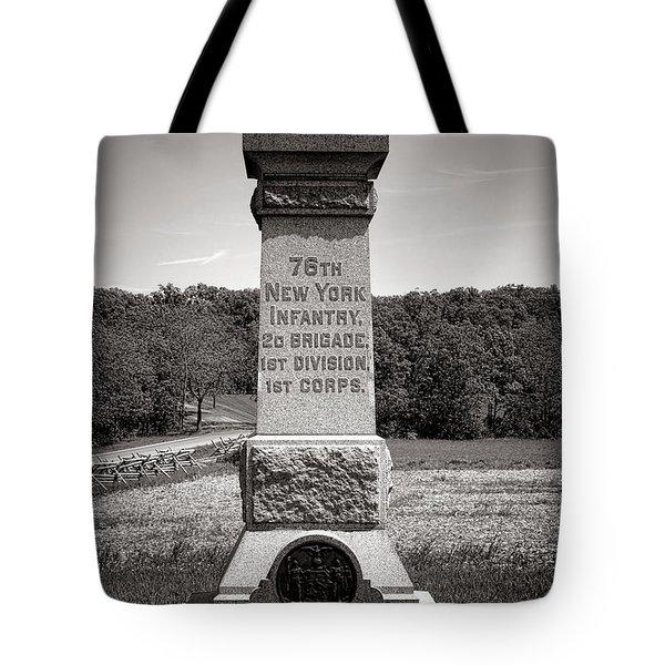 Gettysburg National Park 76th New York Infantry Monument Tote Bag