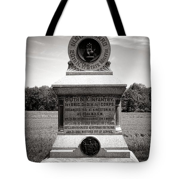 Gettysburg National Park 80th New York Infantry Militia Monument Tote Bag