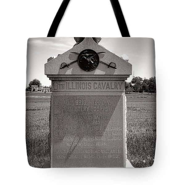 Gettysburg National Park 8th Illinois Cavalry Monument Tote Bag