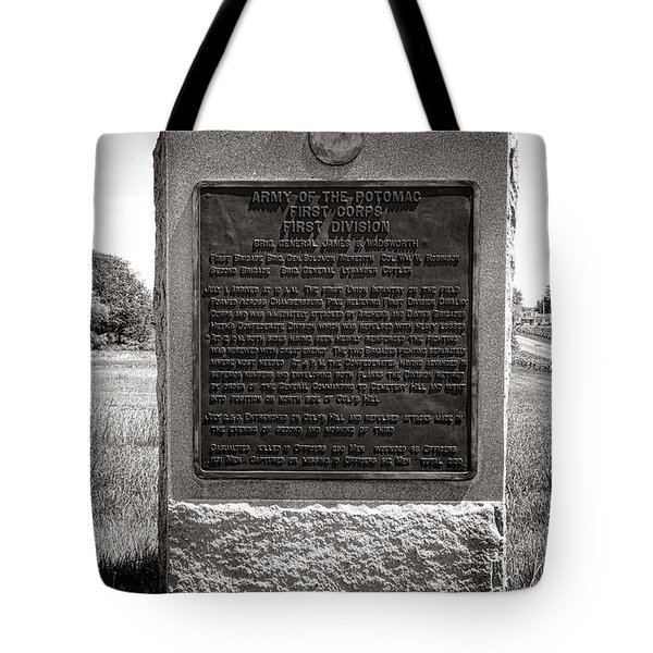 Gettysburg National Park Army Of The Potomac First Division Monument Tote Bag
