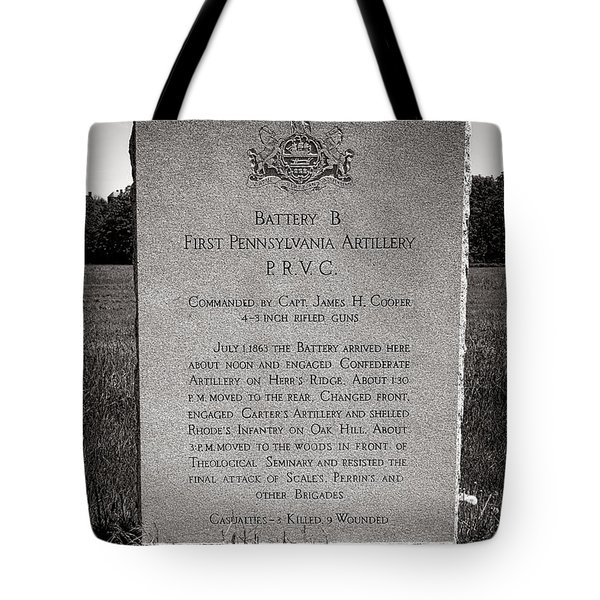 Gettysburg National Park First Pennsylvania Artillery Monument Tote Bag
