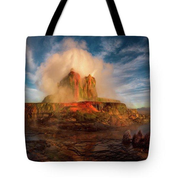 Geyser Steams At Dawn Tote Bag