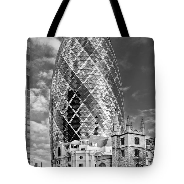 Gherkin And St Andrew's Black And White Tote Bag by Gary Eason