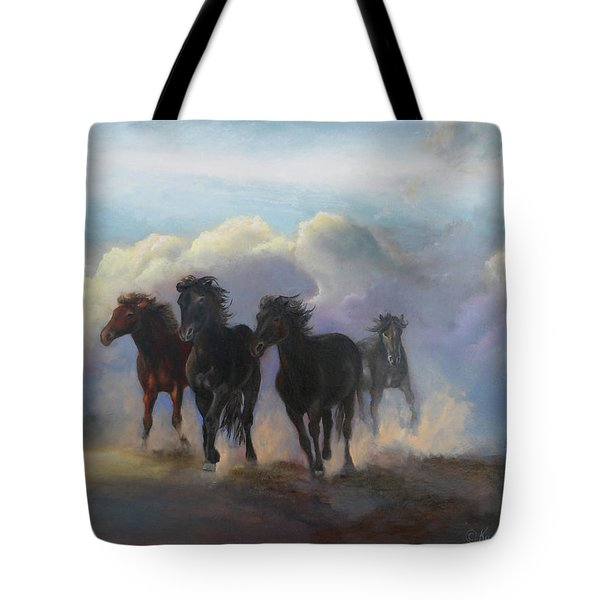 Ghost Horses Tote Bag by Karen Kennedy Chatham