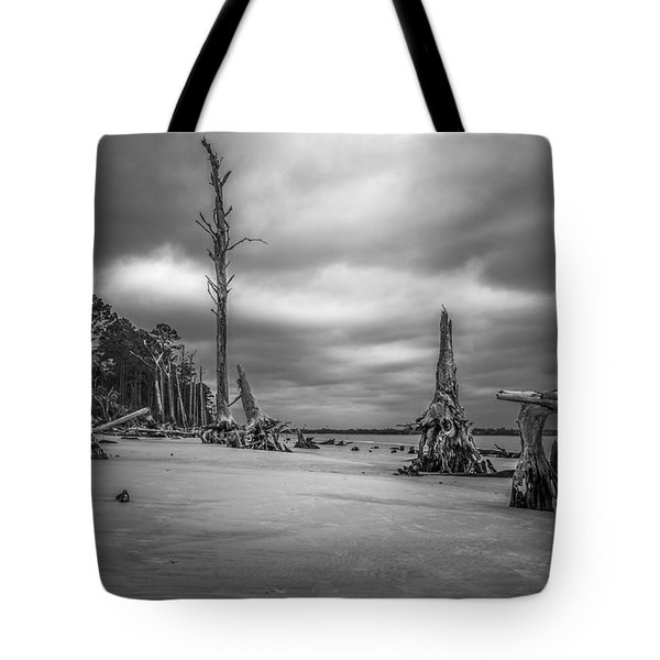 Ghosts Of Giants Above The Sand - Bw Tote Bag