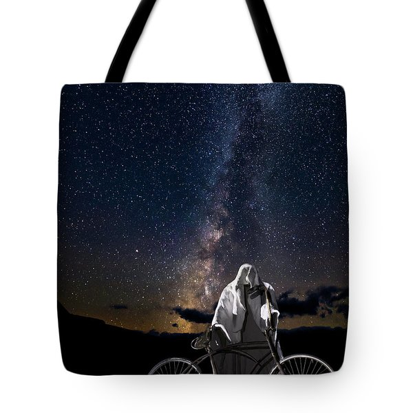 Ghost Rider Under The Milky Way. Tote Bag