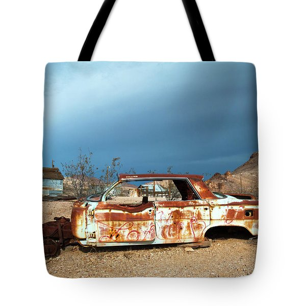 Tote Bag featuring the photograph Ghost Town Old Car by Catherine Lau