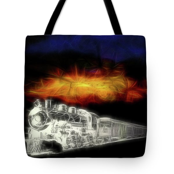 Tote Bag featuring the digital art Ghost Train by John Haldane