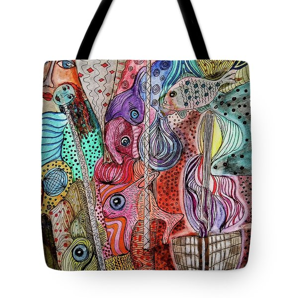 Tote Bag featuring the mixed media Ghostship by Mimulux patricia no No