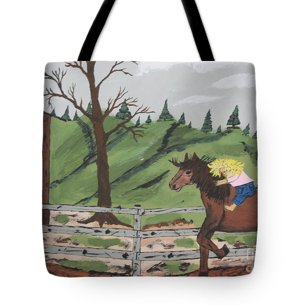 Tote Bag featuring the painting Gianna Riding  Bareback by Jeffrey Koss