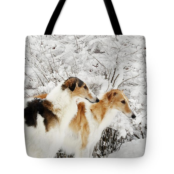 giant Borzoi hounds in winter Tote Bag