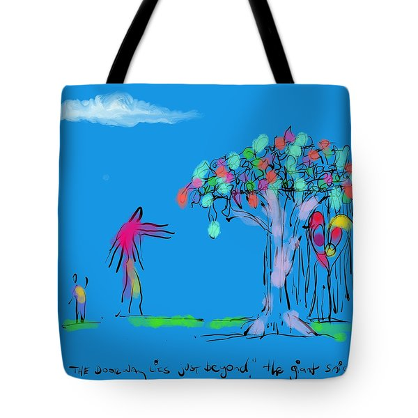 Giant, Boy, And Doorway Tote Bag