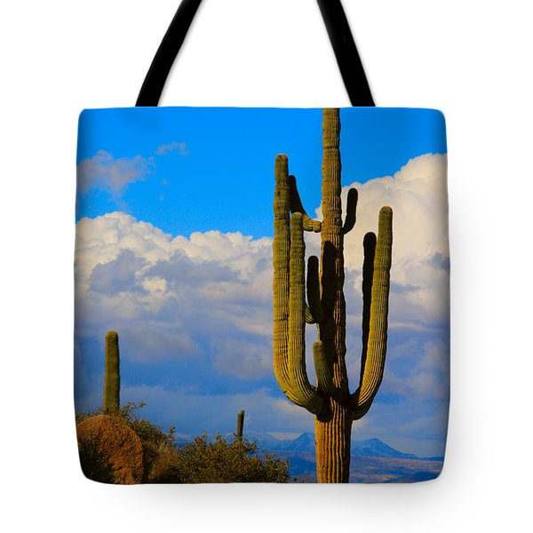 Giant Saguaro In The Southwest Desert  Tote Bag by James BO  Insogna
