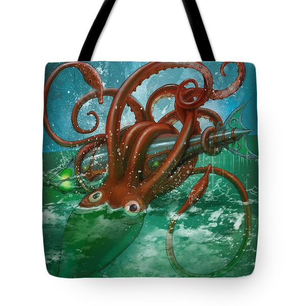 Giant Squid And Nautilus Tote Bag