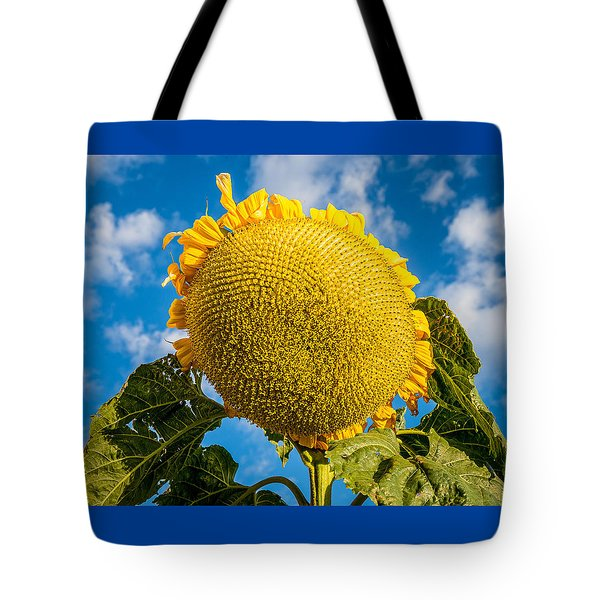Giant Sunflower Against A Blue Sky With Clouds. Tote Bag