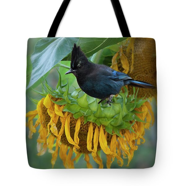 Giant Sunflower With Jay Tote Bag