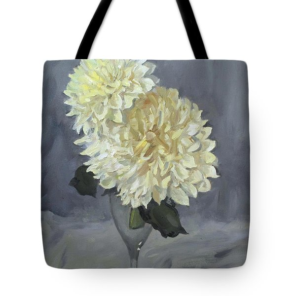 Giant White Dahlias In Wine Glass Tote Bag