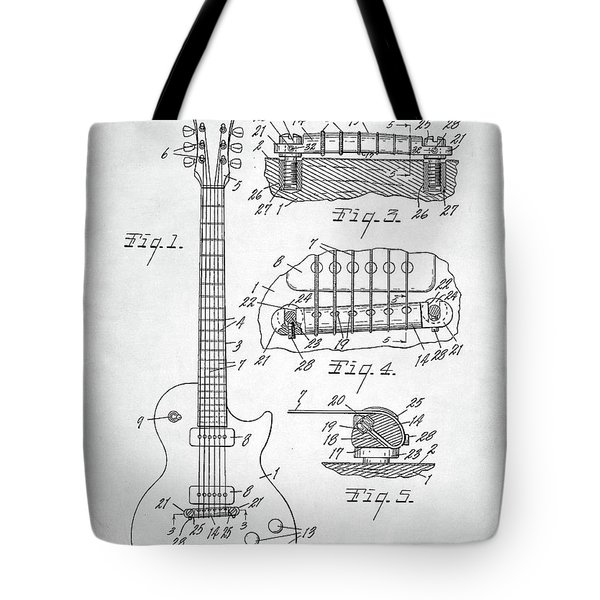 Tote Bag featuring the digital art Gibson Les Paul Electric Guitar Patent by Taylan Apukovska
