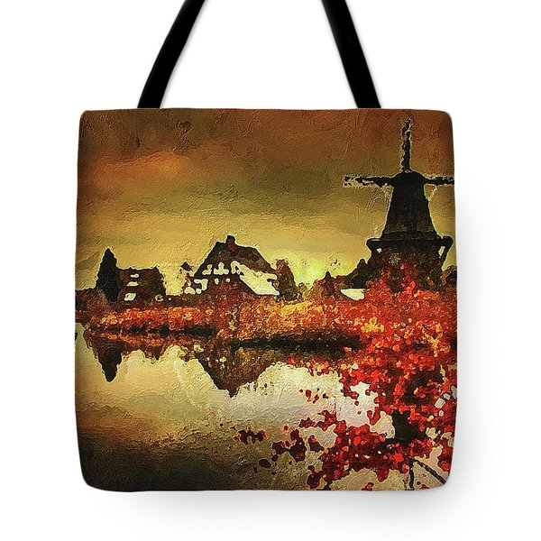 Tote Bag featuring the digital art Gifhorn Millhouse by PixBreak Art