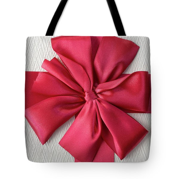 Gift Box With Red Bow Tote Bag