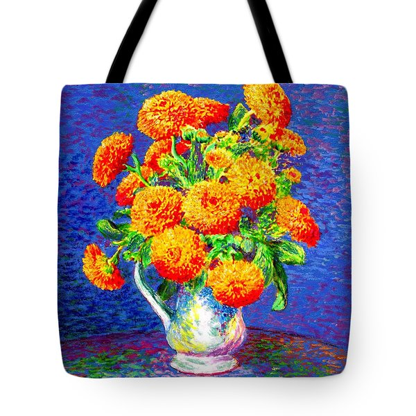 Tote Bag featuring the painting Gift Of Gold, Orange Flowers by Jane Small
