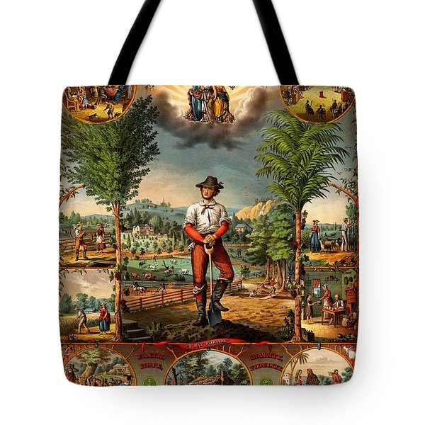 Tote Bag featuring the painting Gift For The Grangers 1873 Victoiran National Grange Agriculture Promotional Art by Peter Gumaer Ogden Collection