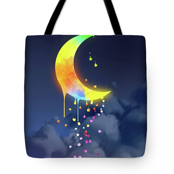 Tote Bag featuring the painting Gifts From The Moon by Tithi Luadthong