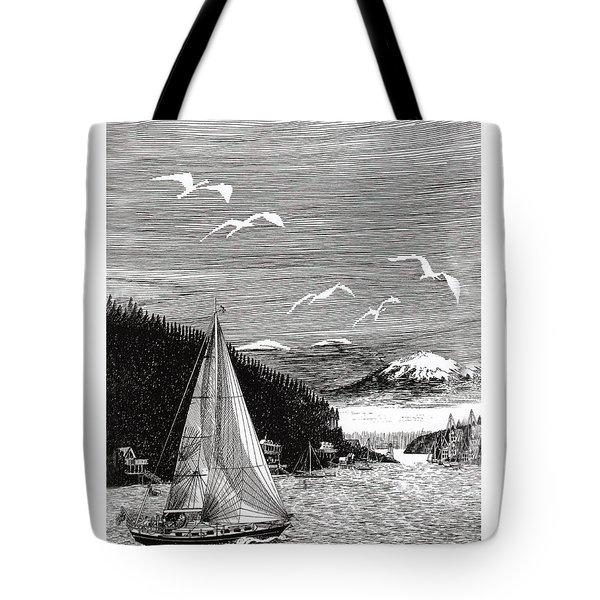 Gig Harbor Sailing School Tote Bag by Jack Pumphrey