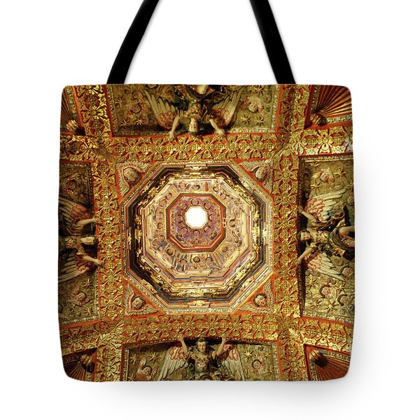 Tote Bag featuring the photograph Gilded Ceiling Tepotzotlan Mexico by John  Mitchell