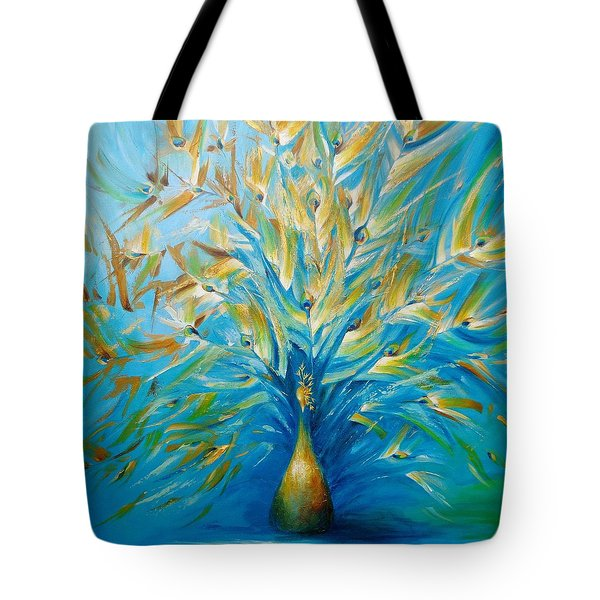 Tote Bag featuring the painting Gilded Peacock by Dina Dargo