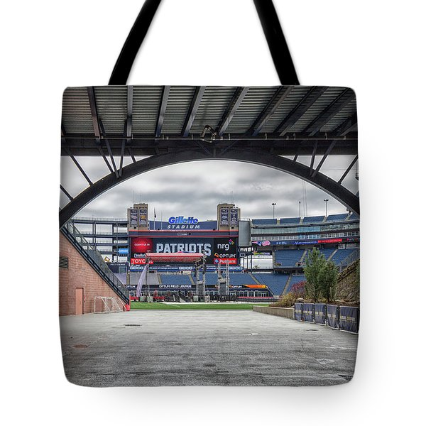 Gillette Stadium And The Four Super Bowl Banners Tote Bag