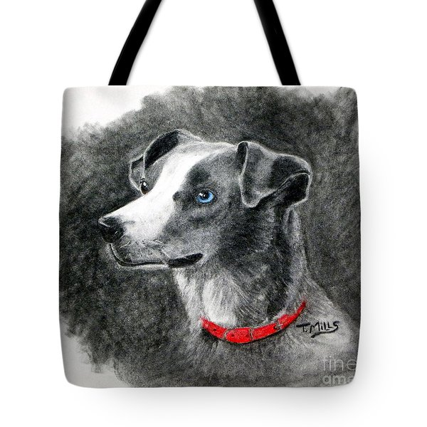 Tote Bag featuring the drawing Ginger In Charcoal by Terri Mills