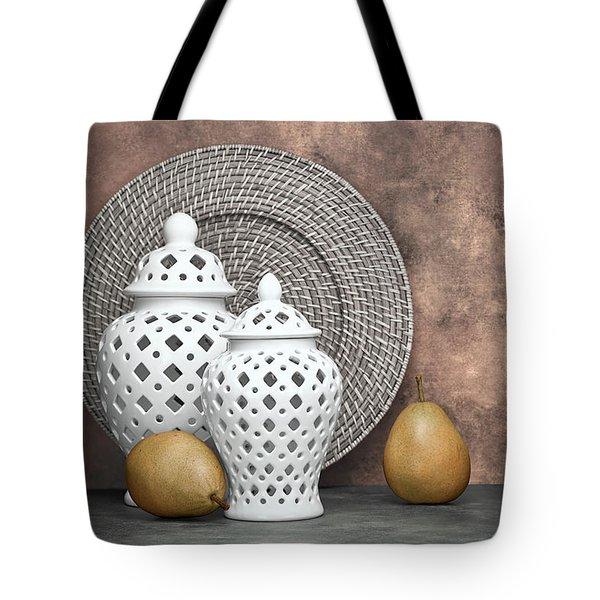 Ginger Jar With Pears II Tote Bag by Tom Mc Nemar