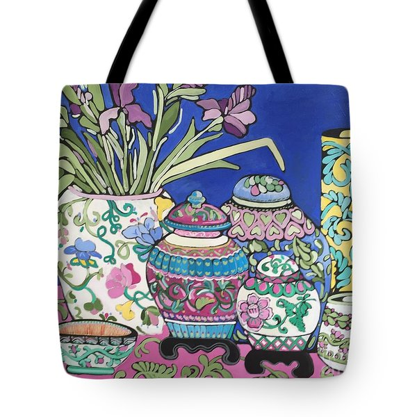 Tote Bag featuring the painting Ginger Jars by Rosemary Aubut