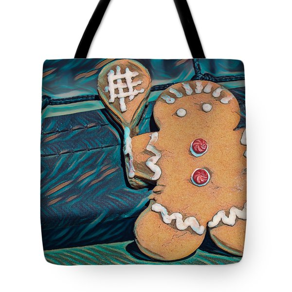 Tote Bag featuring the photograph Gingerbread Tennis Girl Remix by Dan McManus
