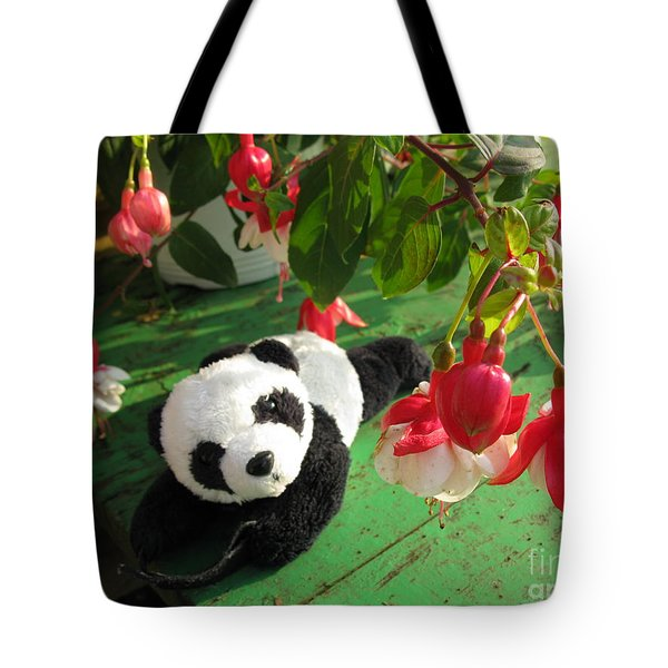 Tote Bag featuring the photograph Ginny Under The Red And White Fuchsia by Ausra Huntington nee Paulauskaite