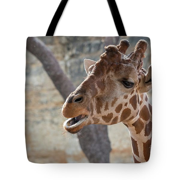 Girafe Head About To Grab Food Tote Bag