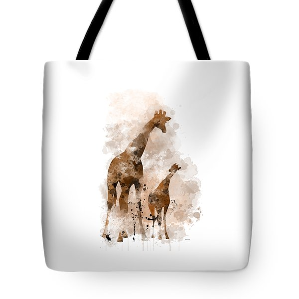 Giraffe And Baby Tote Bag