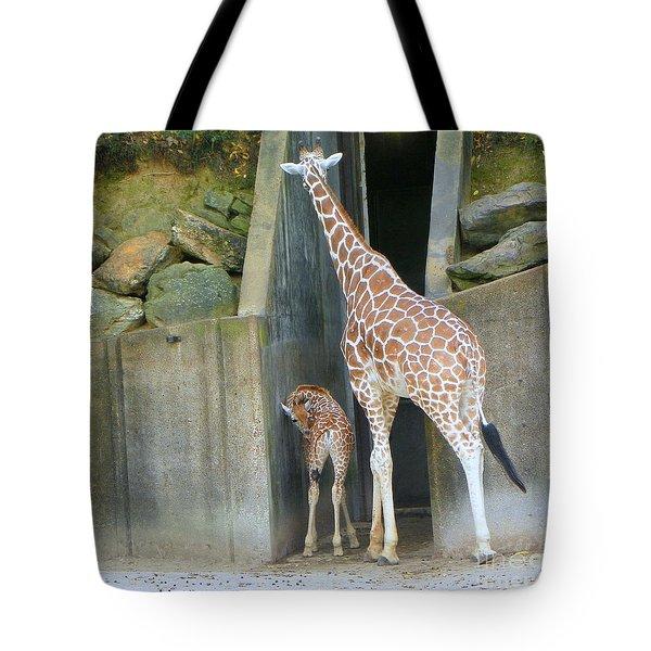 Giraffe And Baby Tote Bag